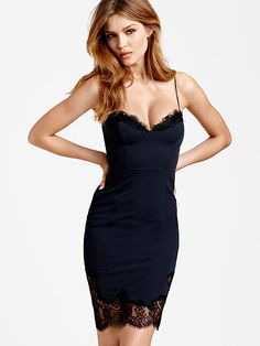 Lace-trim Slip Dress -   Orig. 88 Sale $59.50  JE-320-873 Only Blk Orchid(looks plum/wine)