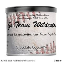 Baseball Team Fundraiser Hot Chocolate Drink Mix $6.59 Great for Team or Group Fundraising! A white baseball, dirty from being played with, stitching faded but still red. Add your text about any fundraisers you may have, for team trips or uniforms or your cause! Easy to change fields, set your donation amount! See more of our business products and promotional items in our store!