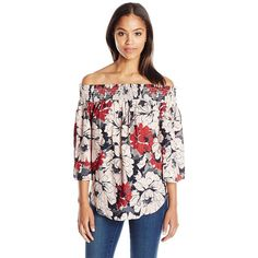 Karen Kane Women's Off-The-Shoulder Top ($48) ❤ liked on Polyvore featuring tops, blouses, flower print blouse, karen kane blouses, floral tops, off the shoulder blouse and crepe blouse