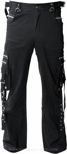 Cargo style men's pants by gothic clothing brand Queen of Darkness, detailed with metal eyelets.