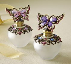 Decorative Frosted Glass Perfume Bottles w/Butterfly Toppers
