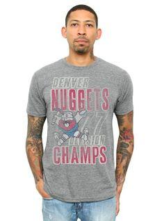 NBA Denver Nuggets Mens Vintage TriBlend Short Sleeve Crew TShirt Steel Medium >>> Visit the image link more details.