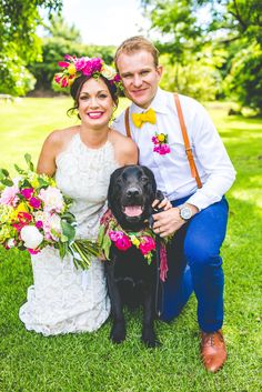 Jess & Nick's Colourful Bush Bank Wedding | Photography by The Evoke Company #petsinweddings #weddingdog