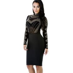 New Bodycon Sheath Dress  Long Sleeve Party Dresses Women Clothing mesh retro Rhinestone Sexy Femme Pencil Tight Dress #Affiliate