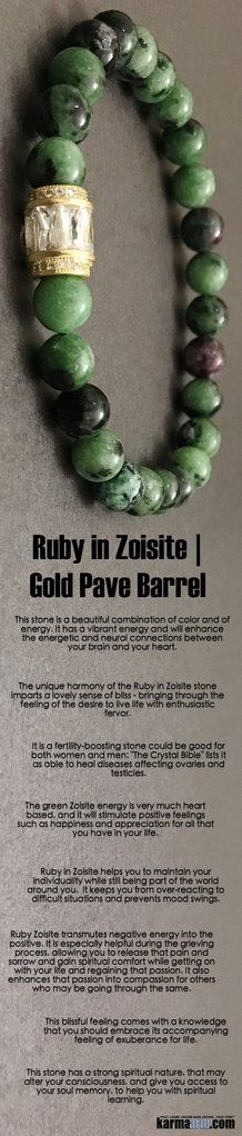 The unique harmony of the #Ruby in Zoisite stone imparts a lovely sense of #bliss - bringing through the feeling of the desire to live life with enthusiastic fervor.  #Beaded #Beads #Bijoux #Bracelet #Bracelets #Buddhist #Chakra #Charm #Crystals #Energy #