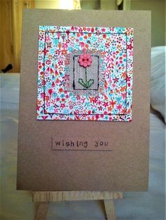 Handmade sewn card made with Liberty fabric, linen and a flower button Fabric Cards, Fabric Postcards, Diy Quilting Frame, Quilting Projects, Hand Made Greeting Cards, Making Greeting Cards, Cute Cards, Diy Cards, Hand Quilting Patterns