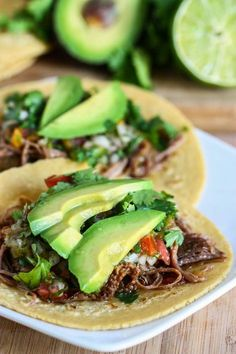 Crock Pot Beef Carnitas Tacos. It is soo easy and delightful! Probably the best recipe I've ever tried from Pinterest!,,,, said someone else