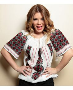 roumanian peasant blouse , roumanian folk fashion shop www. Folk Fashion, Ethnic Fashion, Womens Fashion, Romanian Girls, Embroidery Fashion, Folk Costume, Peasant Blouse, Simple Outfits, Traditional Dresses