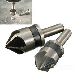 2pcs 5 Flute 82 Degree 1/4 Shank Countersink Drill Bit Set Chamfer Cutter