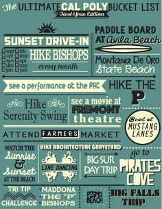 Bucket List-worthy things to do for Cal Poly University students, residents and visitors alike.
