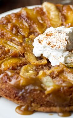 Caramel Apple Upside Down Cake | A delicious apple upside down cake that is perfectly moist and has a caramel glaze on top