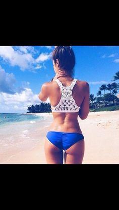 swimwear blue beach cute girl style