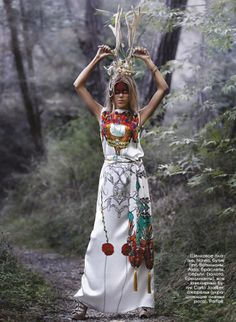Fashion editorial for Moi Ostrov magazine Styling by Lolita Papacosta Photo by Olesya Ghohabi Bewitched trees stretching branches towards the light creating florid shelters, magical fog enveloping the ground concealing mysteries and creatures in the Enchanted Forest…
