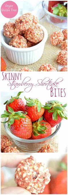 Skinny Strawberry Shortcake Bites. Gluten Free, Vegan, and Delicious! Perfect healthy snack.