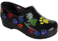 "Hand painted Sanita women's clogs - ""Paws"" design"