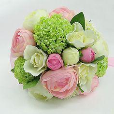 blanche et rose et vert en soie bouquet rond mariage / bouquet de mariée en satin avec une décoration (b012pbr)