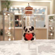 Needle Felted Panda in a Bottle Charm Felted by DesignedbyAbble