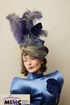 by Catherine Storm. Finalist in the 2019 Melbourne International Millinery Competition (MIMC). Fascinator, Headpiece, Tally Ho, Spring Racing, Melbourne, Special Occasion, Competition, Captain Hat, Elegant