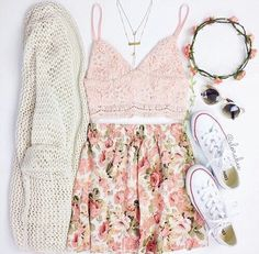 Pink Top and Floral Skirt with Cream Cardigan and White Converse