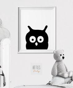 Owl Nursery animal print, Nursery Art, Poster, Minimal, Black and White Animal, Woodlands, Peekaboo animal, Nursery Decor, ArtFilesVicky