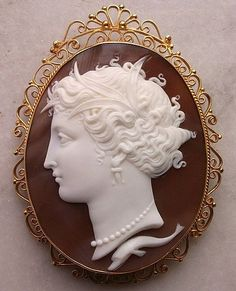 Magnificent Large Victorian Museum Quality Carved Sardonyx Shell Cameo Pendant/Brooch Depicting The Nymph Arethusa With A Dolphin Portrayed Under Her Neck, Mounted In 18k Gold Filigree Frame - Italy  c.1870