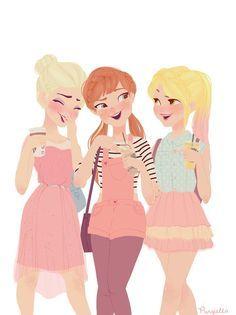 Elsa, Anna and Rapunzel. :) cute but last time i checked Rapunzel had short brown hair