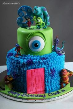 Monsters Inc Cake Monster Inc Party, Monster Inc Cakes, Monster Inc Birthday, Fancy Cakes, Cute Cakes, Monster University Cakes, Bolo Star Wars, Boy Birthday Parties, Birthday Ideas