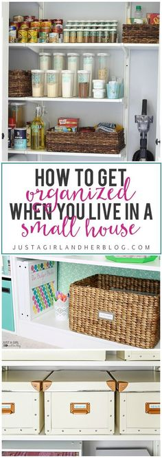 to Get Organized When You Live in a Small House Fantastic tips and tricks for getting organized when you live in a small space! Click through to the post, and get ready to organize your life!Click Click, Klick and Klik may refer to: Organisation Hacks, Office Desk Organization, Small Space Organization, Craft Organization, Office Storage, Small Space Storage, Kitchen Storage, Organize Your Life, Organizing Your Home