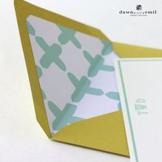 """Personalized Stationary - """"Plus One"""" Cross Pattern - Mint and Chartreuse Colors - Set of 8 Custom Stationary"""
