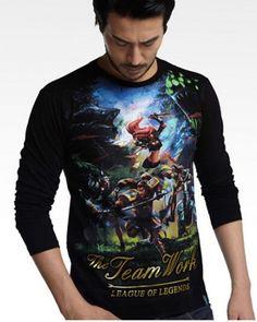 League of Legends jogo negros camisas de manga longa para homens-