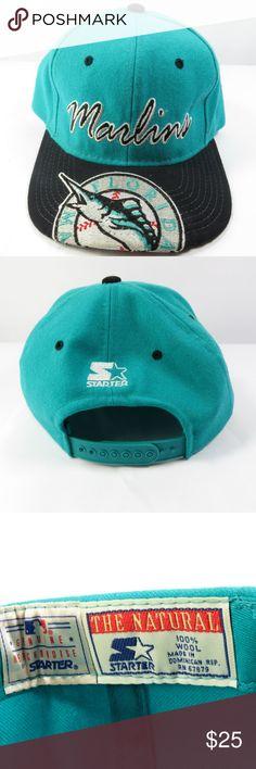 08cec1335bb Florida Marlins 90 s MLB Baseball Wool Starter Hat Vintage Florida Marlins  Snapback Wool cap. STARTER