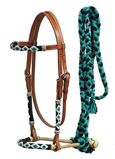 NEW HORSE TACK! Showman LIME GREEN Nylon Rope Bitless Bridle With Nylon Reins