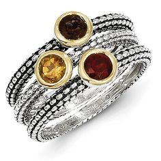 3 Ring Set - Citrine, Garnet and Smoky Quartz