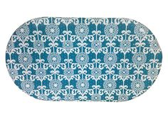 Non-Slip Rubber Bath Mat by Waverly w/Fun Floret Ocean Blue Floral Print!