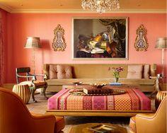 Salmon pink! Peachy ceiling