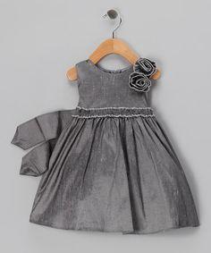 {Gray Rose Taffeta Dress - Infant by Sweet Kids}