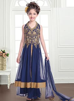Good Looking Net Navy Blue Kids Wear Anarkali Salwar Suit