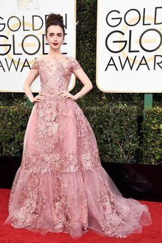 Golden Globes 2017: Lily Collins in Zuhair Murad