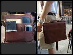 Gusset Briefcase Leather Minimalist Slim por LUSCIOUSLEATHERNYC