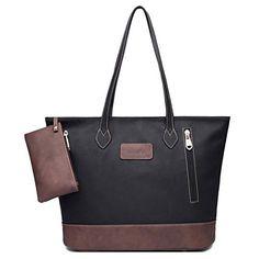 ilishop Women's PU Leather Tote Handbag Contrast Color Shoulder Bag (Black) Suede Handbags, Tote Handbags, Diy Fashion Accessories, Fashion Bags, Women's Fashion, Fashion Handbags, Shoulder Handbags, Shoulder Bags, Cloth Bags