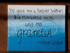The Fault in Our Stars - TFiOS - John Green - Fandom - Fan Art - Quote - Hazel Grace - Canvas on Etsy, $15.00