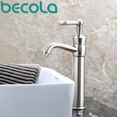 74.33$  Watch now - http://ali960.worldwells.pw/go.php?t=32758351015 - free shipping becola new design brushed nickel brass faucet high quality bathroom basin tap deck mounted LH-553L 74.33$