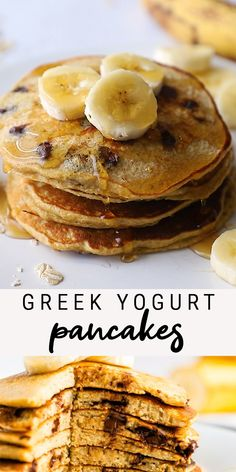 Protein packed, chocolate chip Greek yogurt pancakes that mix up in no time, right in your blender! Perfectly fluffy and delicious. Made with oats and naturally sweetened with banana. These flourless pancakes are packed with protein! Snack Recipes, Cooking Recipes, Healthy Recipes, Healthy Meals, Healthy Food, Keto Recipes, Healthy Baking, Healthy Pancake Recipe, Low Calorie Waffle Recipe