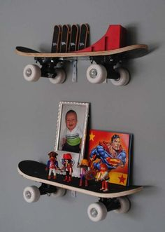 Use skateboards as a shelves | 26 Cute Ideas To Add Fun To a Child Room