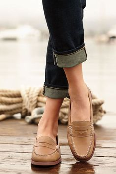 Sperry Top-Sider Women's Hayden Penny Loafer with cuffed dark jeans I need these