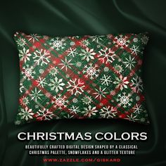 """CHRISTMAS COLORS...""""Beautifully crafted digital design shaped by a classical christmas palette, snowflakes and a glitter texture""""... #christmas, #xmas, #christmassy, #winter, #santa, #holidays, #snowflakes, #glitter, #cushion, #glimmering, #plaid, #tartan #pillow #decorative #homeaccents #decorativepillow #zazzle #zazzler #zazzleshop #digitalartcreations"""
