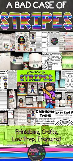 A Bad Case of Stripes by. David Shannon. Complete book study. Great for Back to School!! Packed full of activities, crafts, comprehension strategies, and printables!