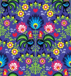 Seamless Polish folk art pattern with roosters photo