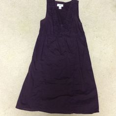 Casual summer dress Deep purple color, rosettes along the v neck, slip underneath as well. Super comfortable. LOFT Dresses Midi
