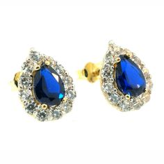 Sapphires are extremely durable, rated as a 9 out of 10 on the Mohs Scale of Hardness, the only natural item that can scratch a Sapphire is a diamond!   Product Details: 9ct Yellow Gold Pear Sapphire & Simulated Diamond Stud Earrings (8x10mm)  https://www.jollysjewellers.com/product/9ct-yellow-gold-pear-sapphire-simulated-diamond-stud-earrings-8x10mm/